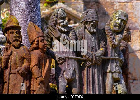Calvary in the Notre-Dame Parish church close, Saint-Thégonnec, Way of St James, Finistere, Brittany, France - Stock Photo