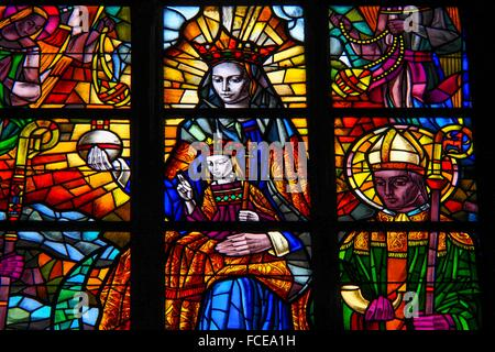 Belgium-Liege- Cathedrale Saint Paul: Jesus and Mary corwnned. - Stock Photo