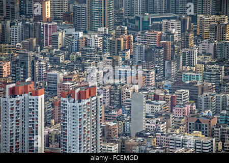 Hong Kong cityscape, crowd buildings at day - Stock Photo