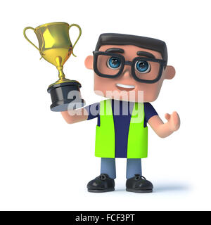3d render of a health and safety officer holding a gold cup trophy aloft in victory - Stock Photo