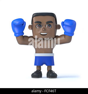 3d render of a black boxer holding his arms in the air - Stock Photo
