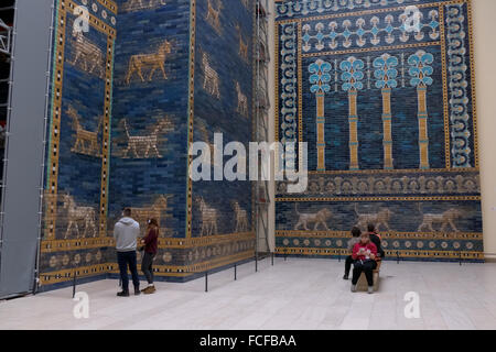 People in Berlin, German city, Germany. Reconstruction of the Ishtar Gate of Babylon at the Pergamon Museum, Pergamonmuseum - Stock Photo