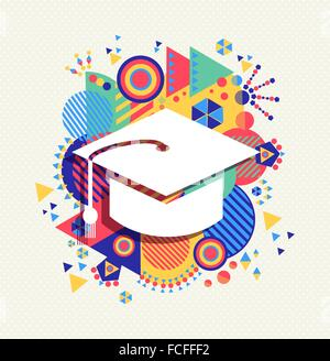 College graduation cap icon, school education concept design with colorful geometry element background. EPS10 vector. - Stock Photo