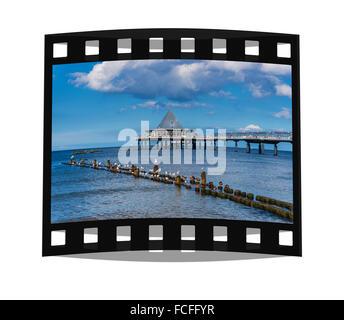 Seebruecke Heringsdorf, Pier at the Baltic Sea, Heringsdorf, Usedom Island, Mecklenburg-Western Pomerania, Germany, - Stock Photo