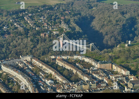 An aerial view of the Clifton Suspension Bridge and surroundings - Stock Photo