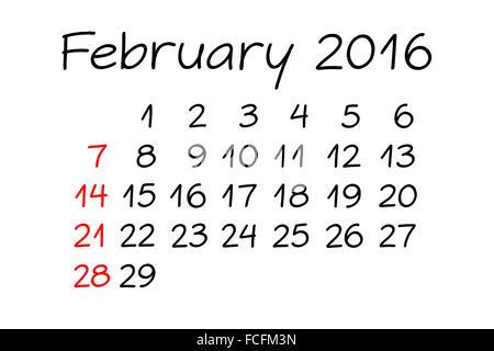 Handwritten Calendar February Year 2016 with marker on white. - Stock Photo
