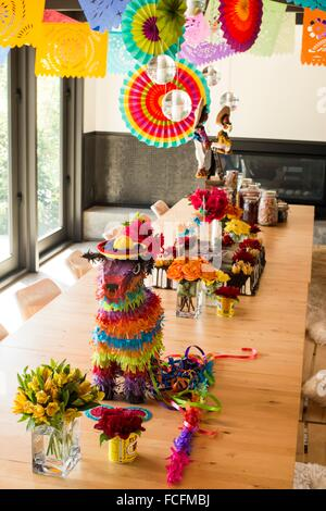 Mexican Theme Party Decorations In A Dining Room Of A House In