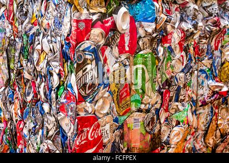 aluminum cans compressed in pack to be sent to a recycling plant. - Stock Photo