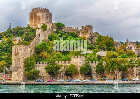 The Rumelihisar Castle along the Bosphorus near Istanbul, Turkey. - Stock Photo