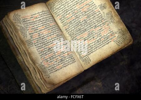 An open bible written in Amharic in an antique shop, Addis Ababa, Ethiopia, Africa. - Stock Photo