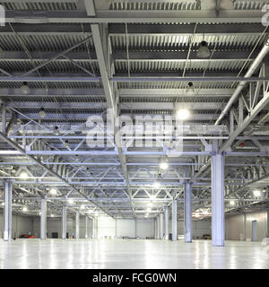 Interior of huge empty storehouse - Stock Photo