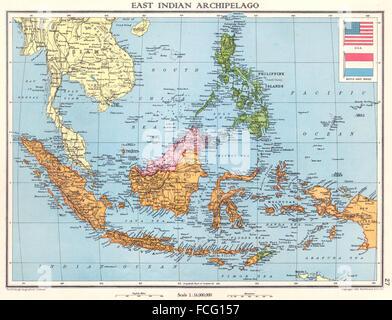 Dutch East Indies Sarawak Sabah 1938 Map