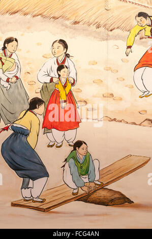 Wall art of traditional Korean life, Insa-dong, Seoul, South Korea ...