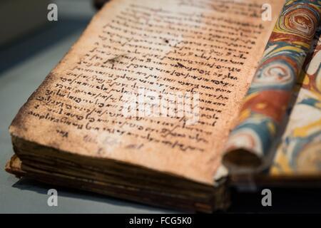 memorias , Glikl bas Juda Leib ,1646-1724,facscimil,Museo Judío de Berlín , Berlin, Germany - Stock Photo