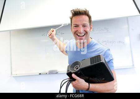 Executive with screen and projector. Office - Stock Photo