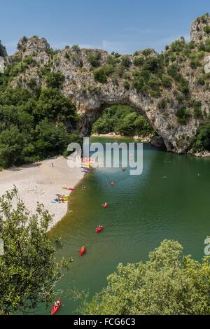 NATURE RESERVE OF THE GORGES OF THE ARDECHE, ARDECHE (07), RHONE ALPES, FRANCE - Stock Photo