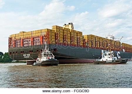The largest container vessel of the world ´´MSC Zoe´´ arrives at Hamburg harbor after the maiden voyage, expecting - Stock Photo
