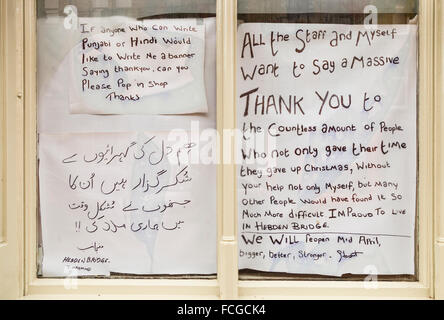 Thank you messages from some of the shop owners affected by the Boxing Day floods in Hebden Bridge - Stock Photo