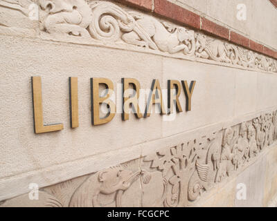 Exterior wall of the Library at UCLA in Westwood, Los Angeles, California, USA. - Stock Photo