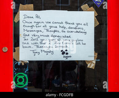Thank you messages from some of the shop owners affected by the 'Boxing Day' floods in Hebden Bridge - Stock Photo