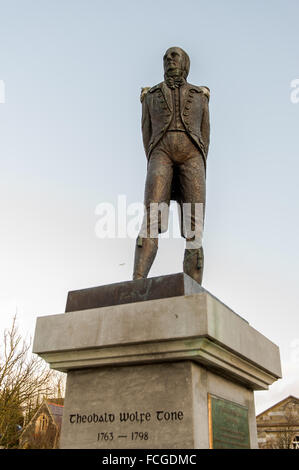 Wolfe Tone statue in The Square, Bantry, West Cork, Ireland. - Stock Photo