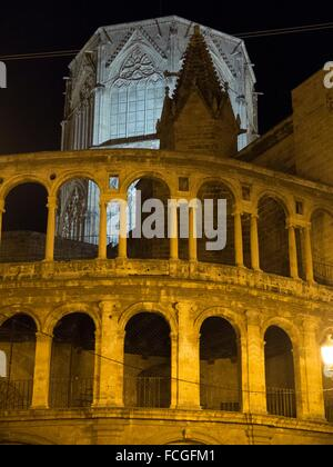 Night view of the Cathedral of Valencia and the Micalet. - Stock Photo