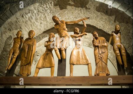 Santa Eulalia romanesque church in Erill la Vall. Vall de Boi, Lleida, Catalonia Spain. Descent from the Cross wooden - Stock Photo