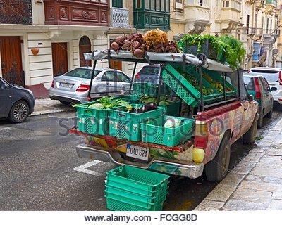 Island Malta, Mediterranean Sea, greengrocer car in the old town of Valetta. - Stock Photo