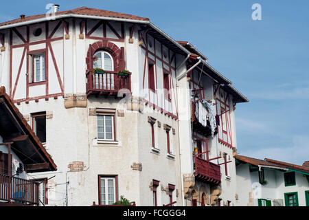 Typical homes in the ancient La Marina quarter in Hondarrabia. Basque Country. Spain. - Stock Photo