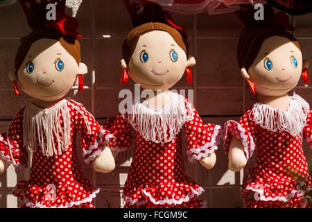 Dolls in flamenco outfit, gift shop, Cordoba, Andalusia, Spain - Stock Photo