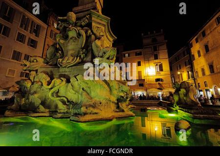 The Fontana del Pantheon on Piazza della Rotonda, Rome, Italy; Pantheon Fountain - Stock Photo