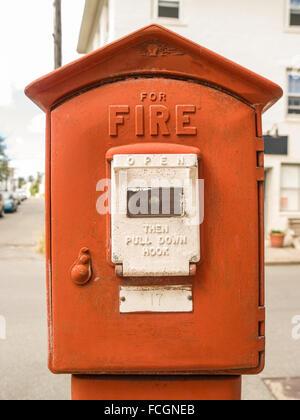 Red tall standing fire alarm box in Boston, Massachusetts, usa. - Stock Photo
