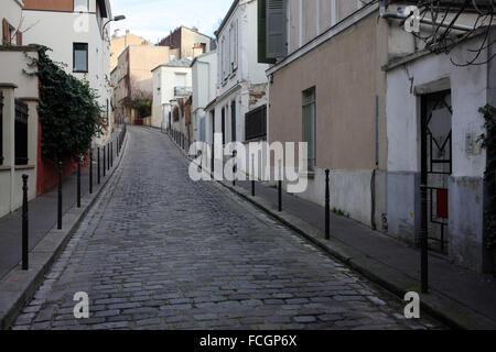 Rue Laurence Savart viewed from rue Boyer - Belleville - 20th arrondissement - Paris - France - Stock Photo