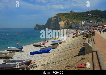 porte d 180 amont cliff and notre dame de la garde church etretat c 244 te stock photo royalty free