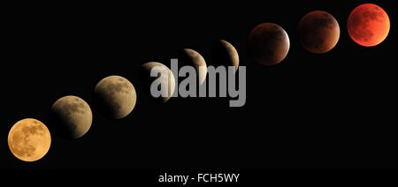 Total lunar eclipse progression to blood moon 27/28 2015 - Stock Photo
