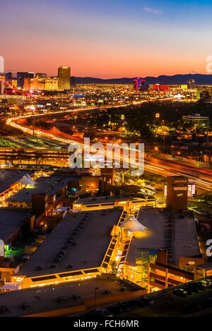 The Strip (Las Vegas Boulevard) and Interstate 15 (on right ), Las Vegas, Nevada USA. - Stock Photo