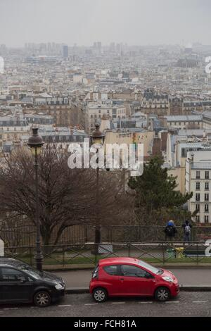 Paris, France - city´s rooftops seen from Sacre-Coeur Basilica Hill in Montmartre - Stock Photo