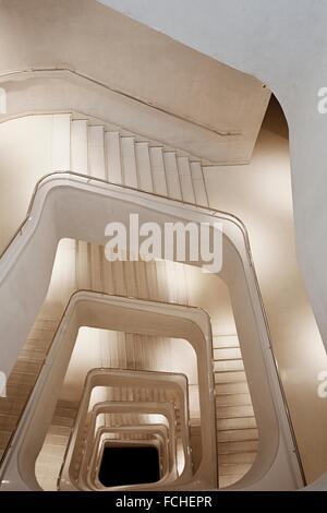 Spain, Madrid, Paseo del Prado Area, Caixa Forum, Herzog and de Meuron architects, interior, staircase. - Stock Photo