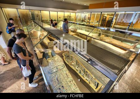 Different style of egyptian mummy display in Metropolitan Museum New York, USA - Stock Photo