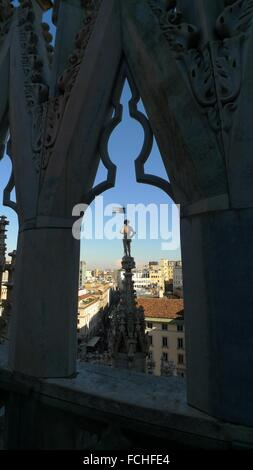 Landscape panoramic view of Milan from Duomo cathedral roof, Lombardy, Italy - Stock Photo