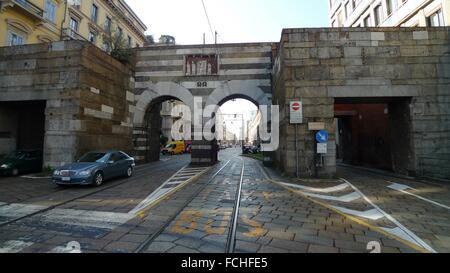 A. Manzoni Street, Archi di Porta Nuova, Milano, Italy - Stock Photo
