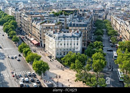 Looking Down on the Streets of Paris from the Arc Du Triomphe. - Stock Photo
