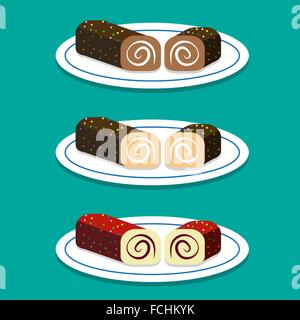 Set of Swiss roll on dish in flat style, vector - Stock Photo