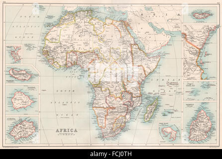 AFRICA/ISLANDS:Madeira St.Helena Socotra Zanzibar Seychelles Mauritius, 1891 map - Stock Photo