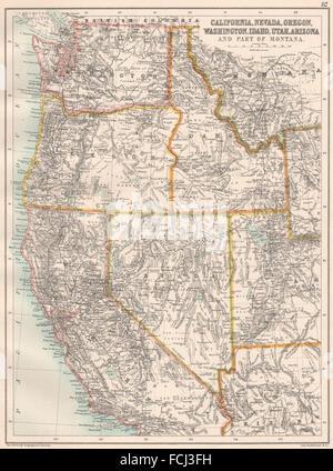 Map maps usa california oregon washington state stock for California chiude l utah