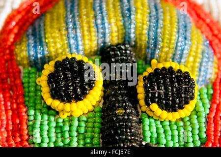Yoruba tribe three dimentional beaded crocodile diviner´s panel from Nigeria. - Stock Photo