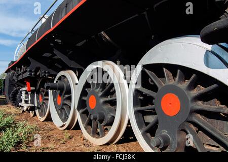 Steam train wheels, Railway Museum, Livingstone, Zambia - Stock Photo