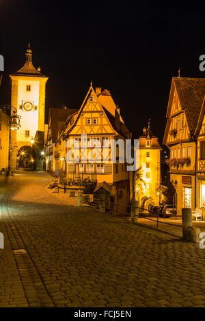View from ´Plönlein´ (Little Square) towards Siebersturm (Siebers Tower) in Rothenburg ob der Tauber at night, Bavaria, - Stock Photo
