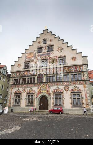 The beautiful historic Old Town Hall in Lindau, Bavaria, Germany, Europe - Stock Photo