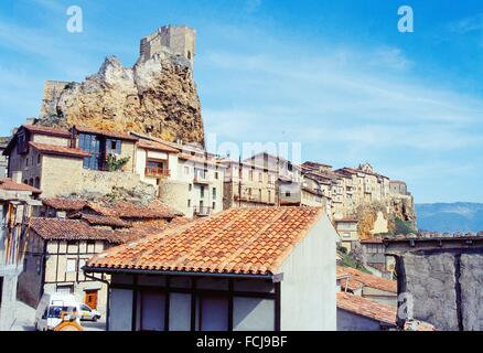 Castle and overview. Frias, Burgos province, Castilla Leon, Spain. - Stock Photo